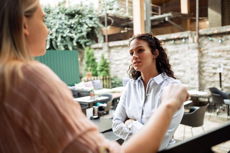 women, conversation, work