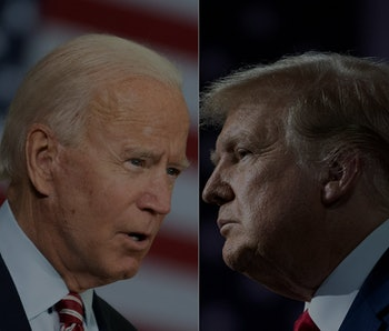 Side-by-side pictures of Joe Biden and Donald Trump.
