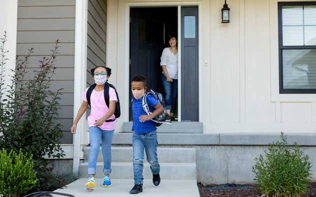 kids on their way to school