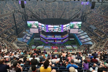 A stadium watching a Fortnite match.