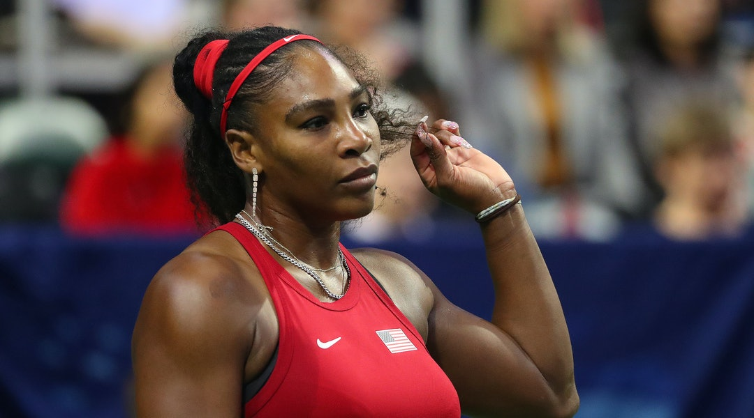 Serena Williams wore a bright red manicure during part of the 2020 US Open.