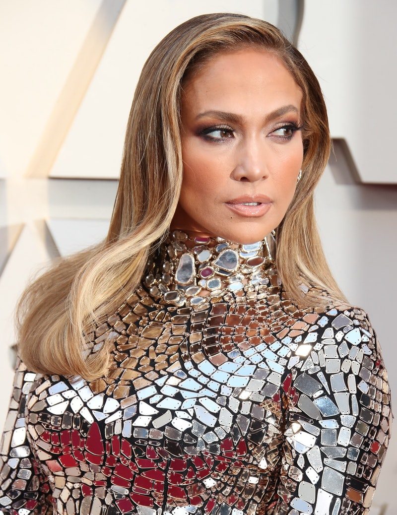 Jennifer Lopez's most recent look features a glossy brown lip.