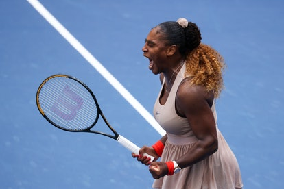 Williams kept her nails red for day 8 of the US Open, too.
