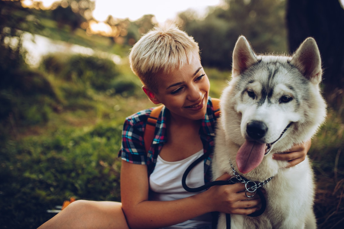 A young woman with short hair sits with her husky while on a fall hike at sunset.