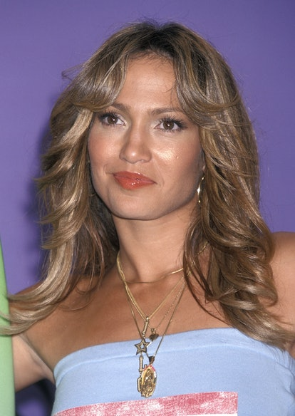 Lopez's blown out bangs and curls were inspired by the '70s and are still popular today.