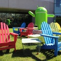 Lawn chairs and a statue at Google's headquarters in Mountain View, California.