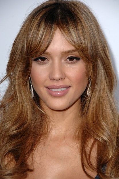 Jessica Alba turns up the volume with classic bombshell curtain bangs.