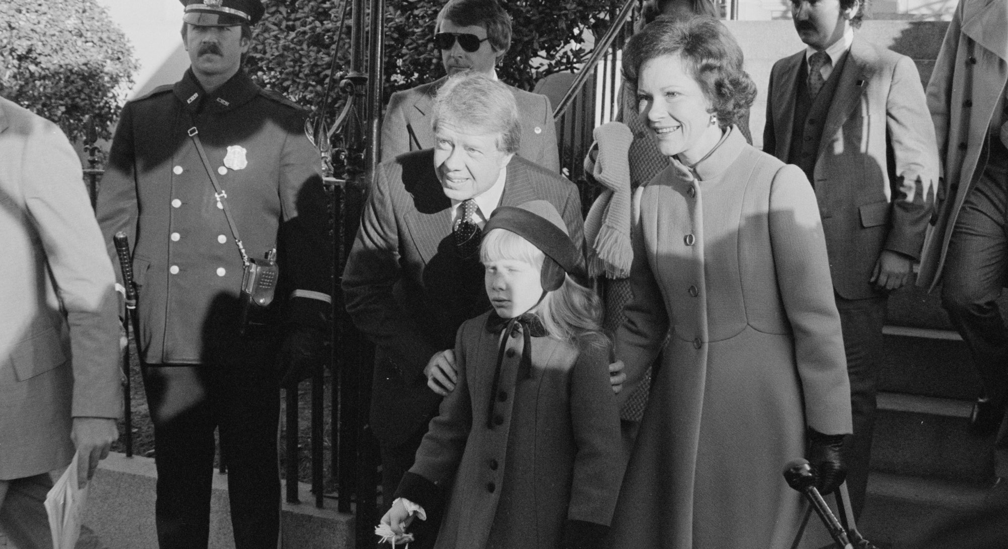 Jimmy Carter arrives to his inauguration with wife Rosalynn Carter and daughter Amy Carter.