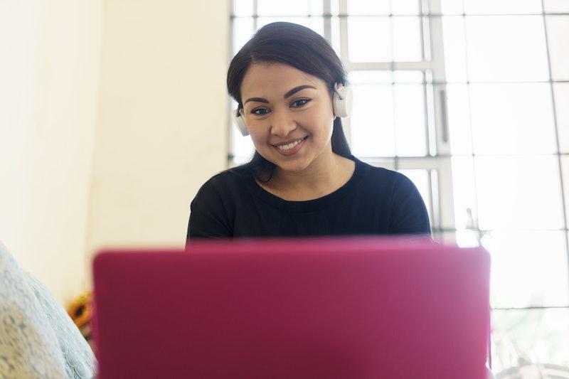 woman, work, computer
