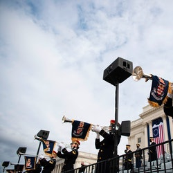 Members of the Pershings Own band practice performing during a dress rehearsal for the 59th inaugural ceremony