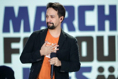 Lin-Manuel Miranda performing during the 2018 March for Our Lives rally in Washington, DC.