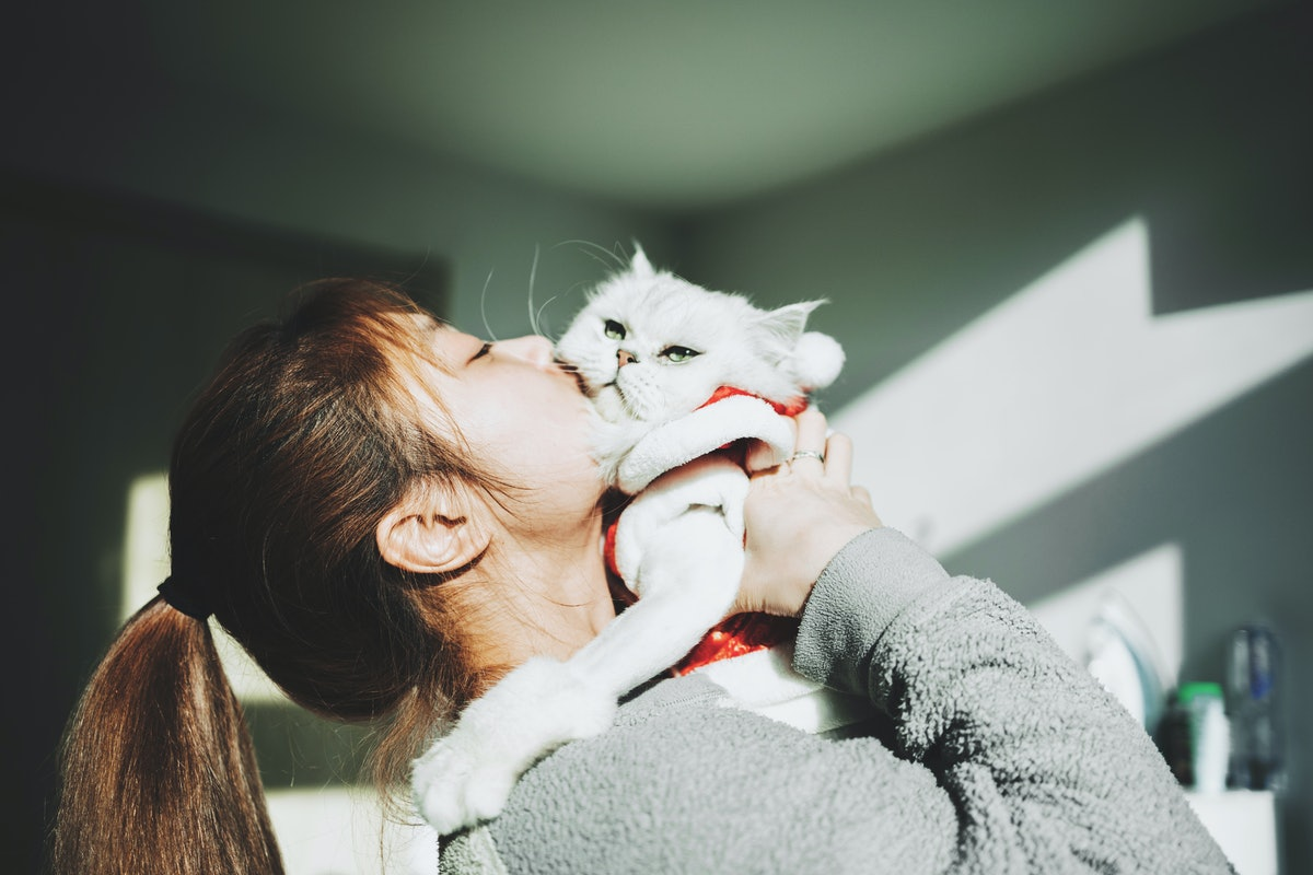 A young woman kisses her cat on a sunny afternoon in the winter.