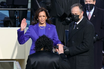 Kamala Harris wore both a pearl necklace and pearl earrings at her inauguration.