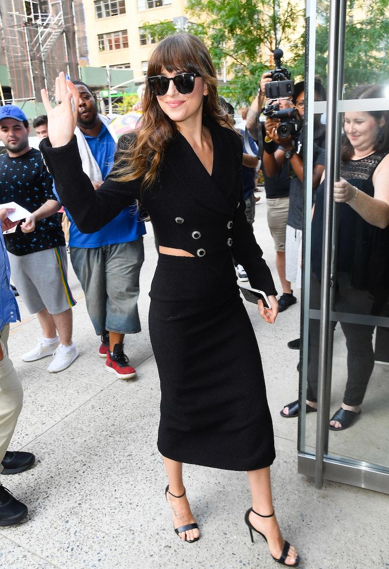 Dakota Johnson is seen on August 07, 2019 in New York City.