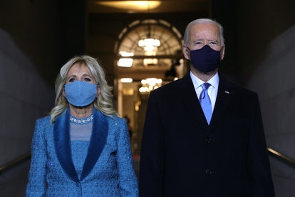 Dr. Jill Biden's necklace featured pearl clusters.