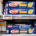 Barilla pasta on a store shelf.