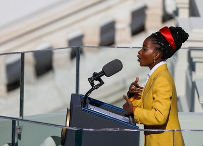Youth Poet Laureate Amanda Gorman speaks at the inauguration of U.S. President Joe Biden on the West Front of the U.S. Capitol on January 20, 2021 in Washington, DC.