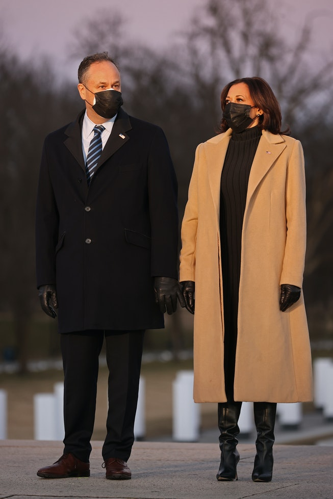 Kamala Harris at the COVID memorial during the the 2021 presidential inauguration.