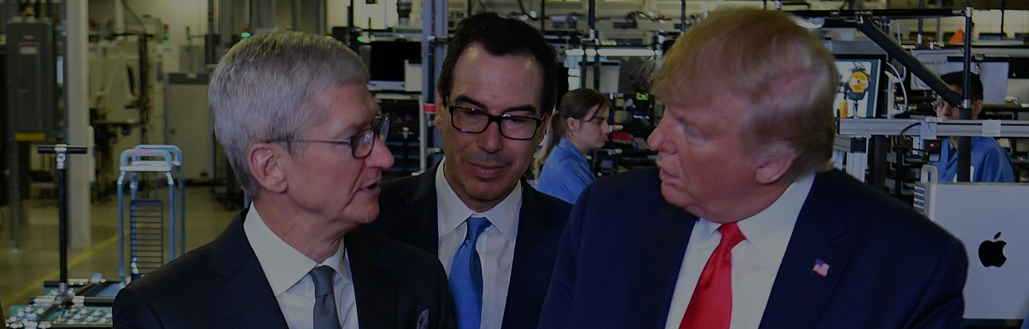 Apple CEO Tim Cook, Treasury Secretary Steve Mnuchin, President Trump meet at a manufacturing facility in Austin, Texas.