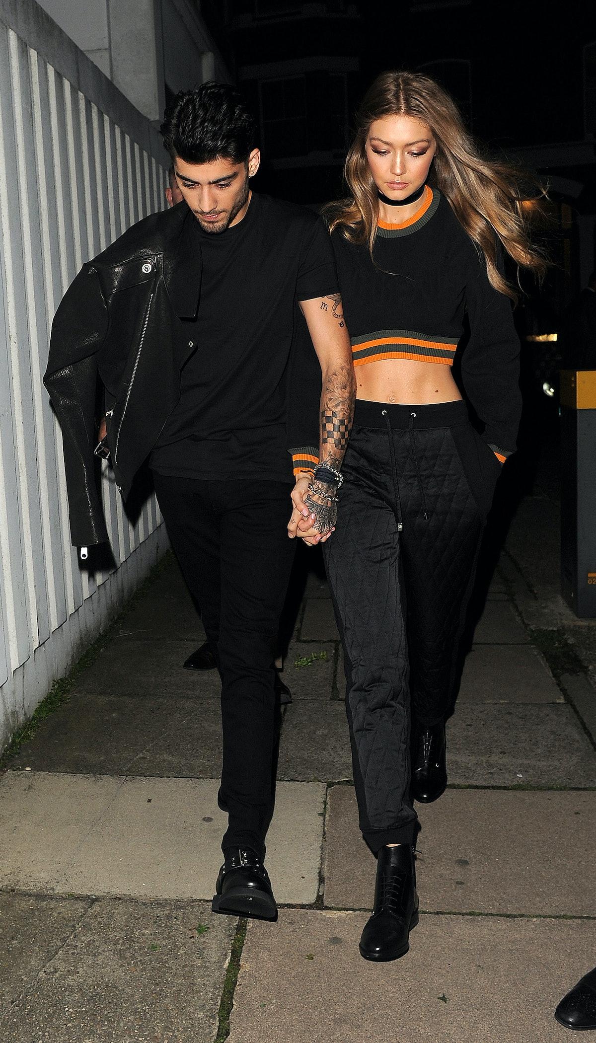 Zayn Malik and Gigi Hadid step out hand in hand.