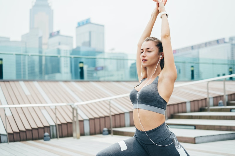 stretching, exercising