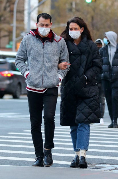 Emilio Vitolo Jr. and Katie Holmes out for a walk on January 22, 2021 in New York City, New York.