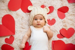 baby surrounded by hearts for valentine's day