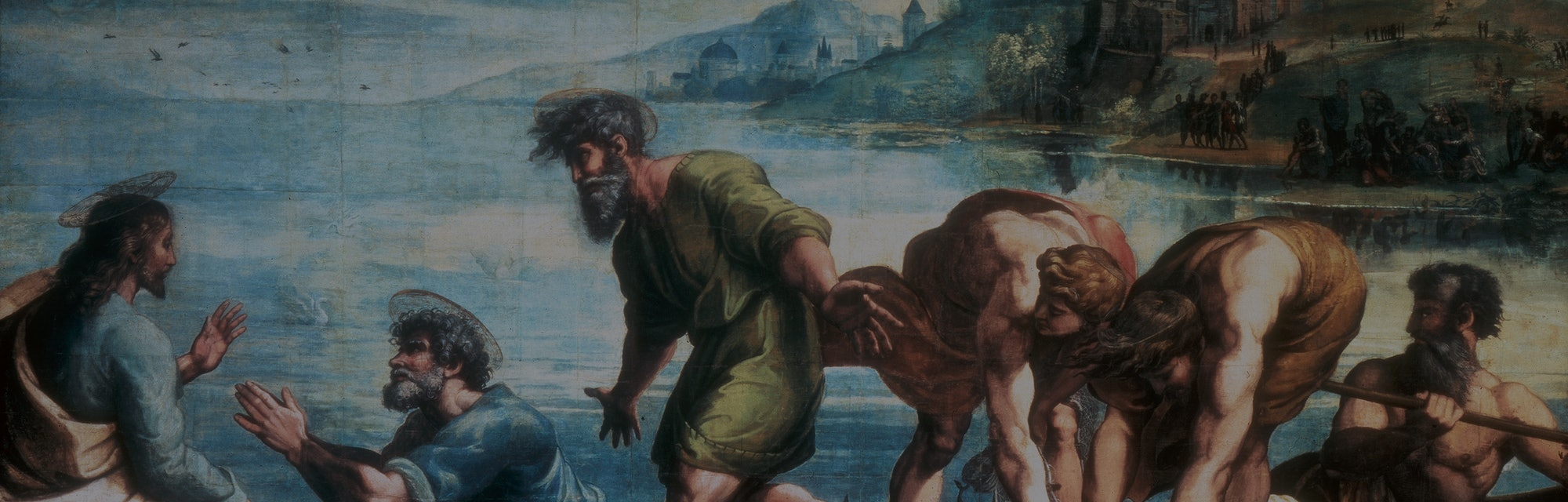 The Miraculous Draught of Fishes painted by Raphael, depicting Jesus speaking with Simon, the fisherman. The watercolors are predominantly sky blue, brown, gold, green, and other hues. There are fishermen to the side of Simon and Jesus.