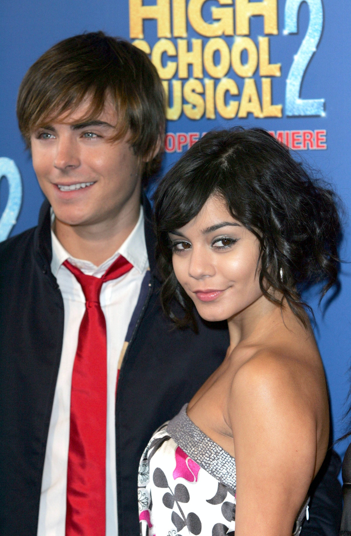 Zac Efron and Vanessa Hudgens attend the premiere of High School Musical 2.