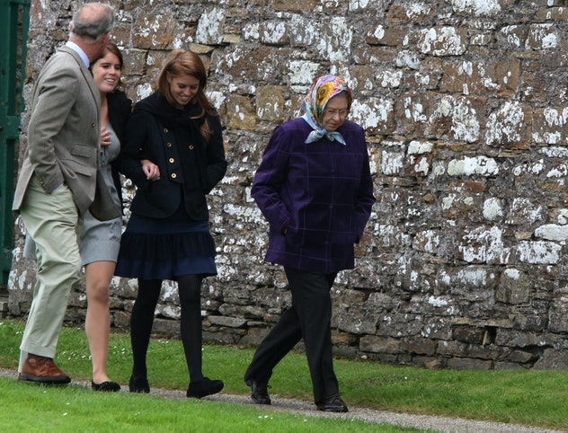 Princess Eugenie, Prince Charles, Princess Beatrice, and Queen Elizabeth in Scotland.
