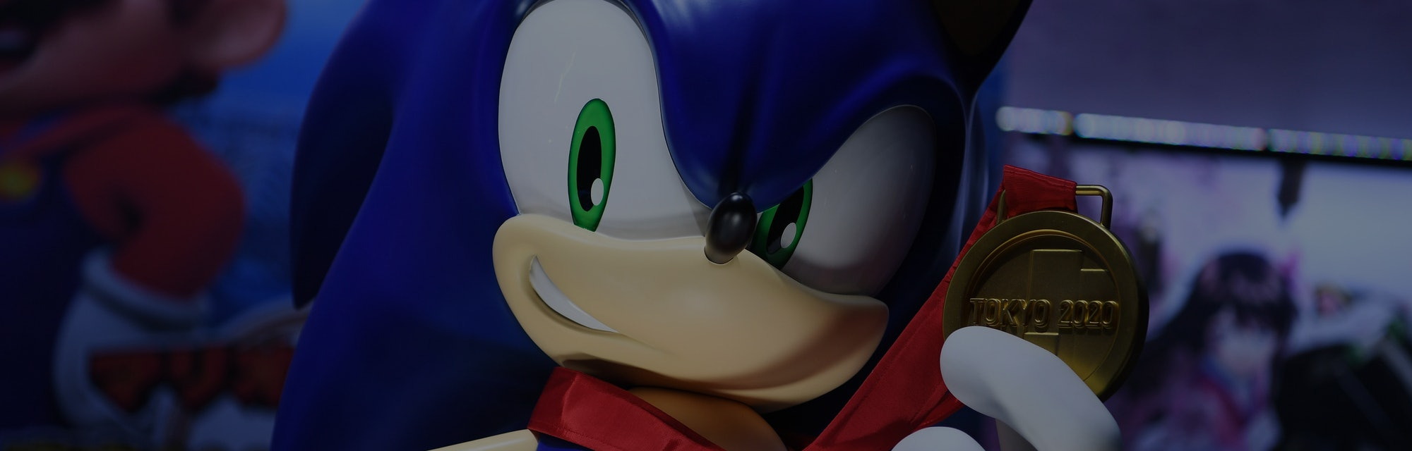A large figure based onSonic the hedgehog can be seen looking directly at the camera.