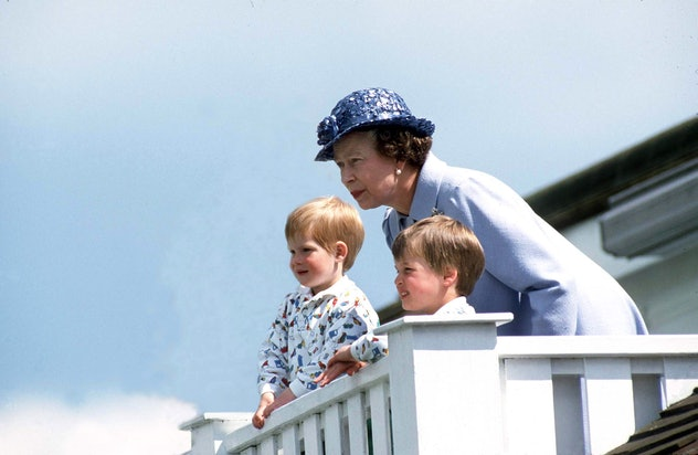 Queen Elizabeth with Prince William and Prince Harry, 1987.