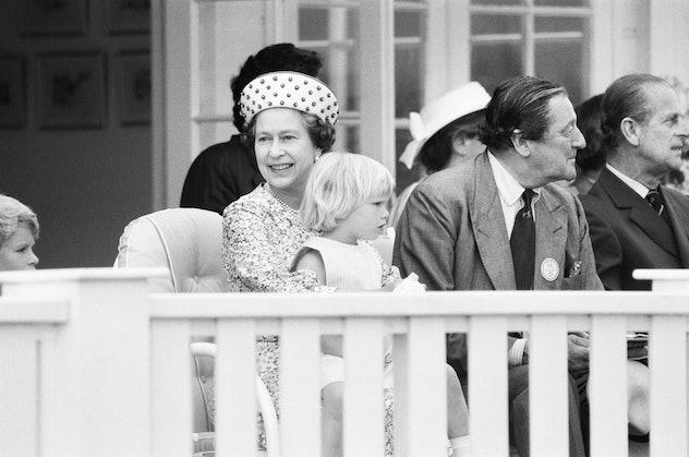 Zara Philips with Queen Elizabeth, 1984.