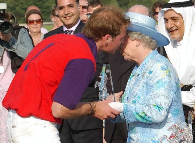Prince William kisses Queen Elizabeth, 2004.