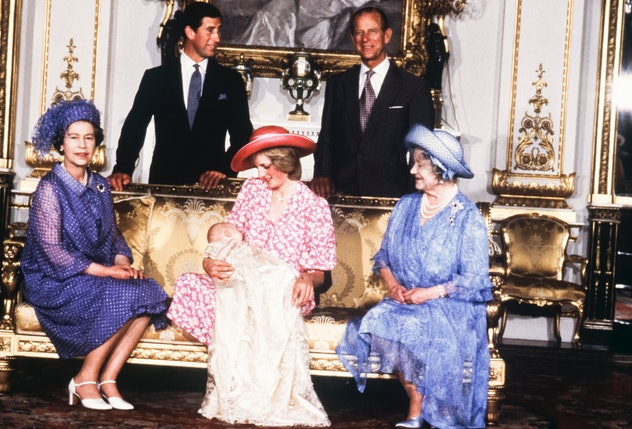 Queen Elizabeth, Prince Charles, Prince Philip, Princess Diana, Prince William, and the Queen Mother in 1983.