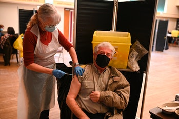 Man receiving a Covid-19 vaccine
