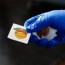 A Georgia voting sticker