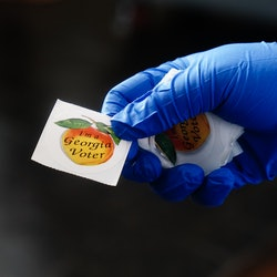 A Georgia voting sticker