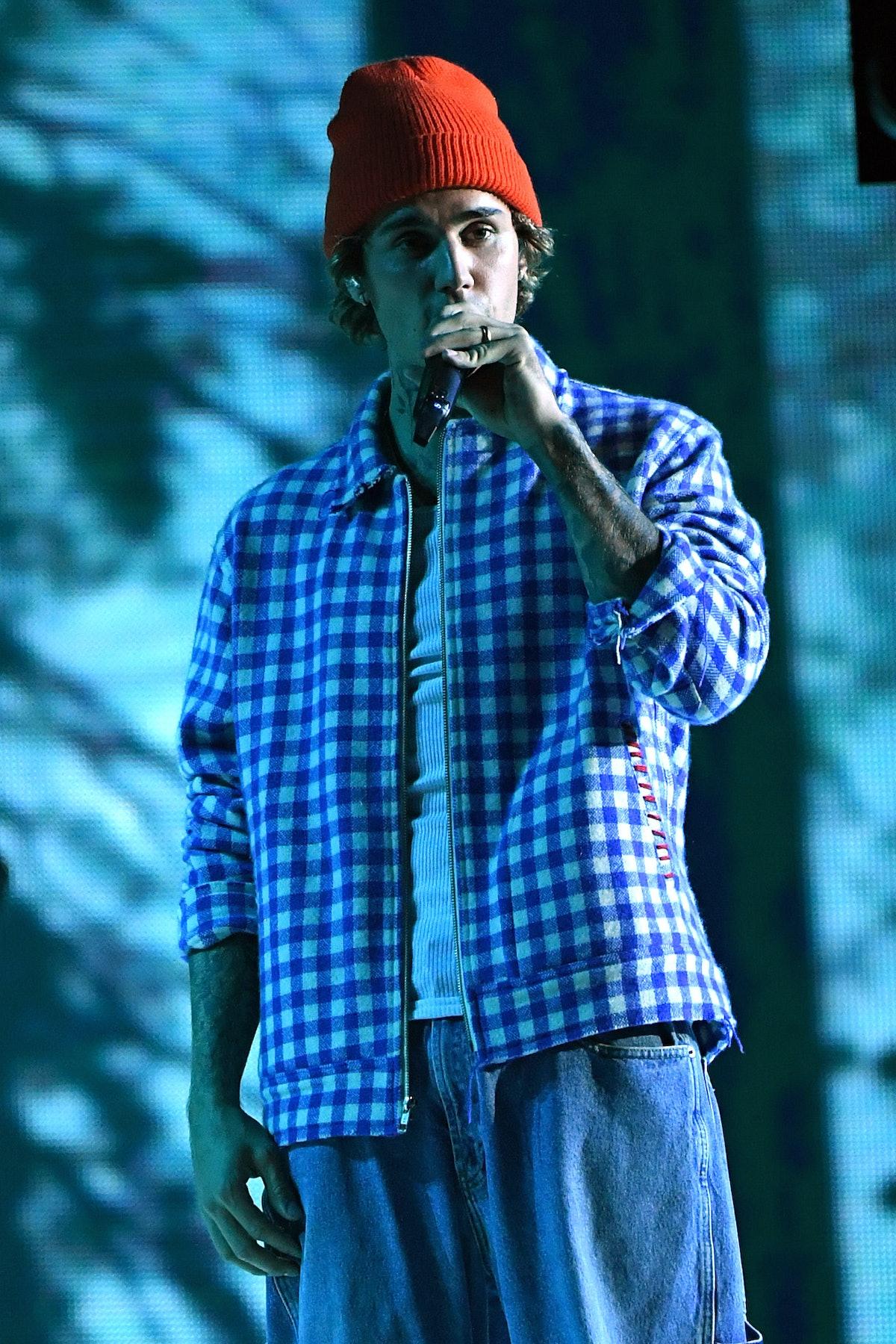 Justin Bieber performs live.