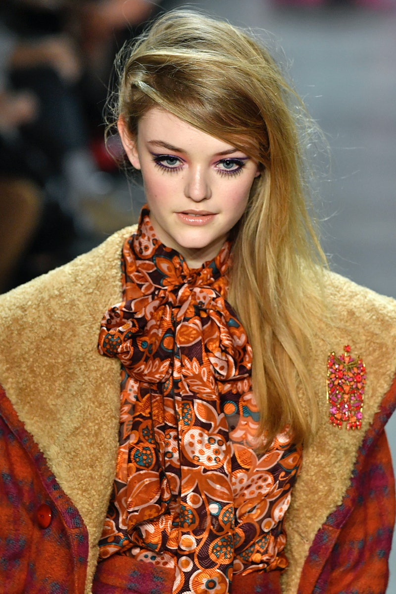 NEW YORK, NY - FEBRUARY 12: A model walks the runway at the Anna Sui Ready to Wear Fall/Winter 2018-...