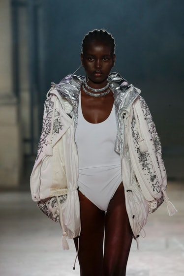 PARIS, FRANCE - SEPTEMBER 30: Adut Akech walks the runway during the Isabel Marant Ready to Wear Spr...