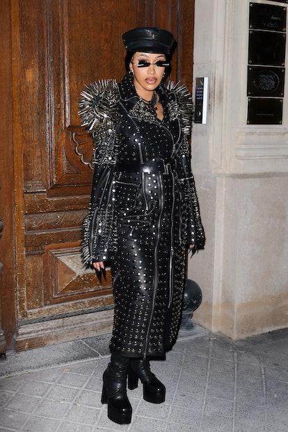 PARIS, FRANCE - SEPTEMBER 30: Cardi B is seen leaving a Balenciaga office on September 30, 2021 in P...