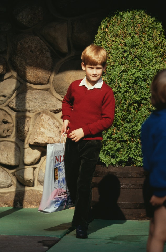 Prince Harry wears a sweater with long pants.