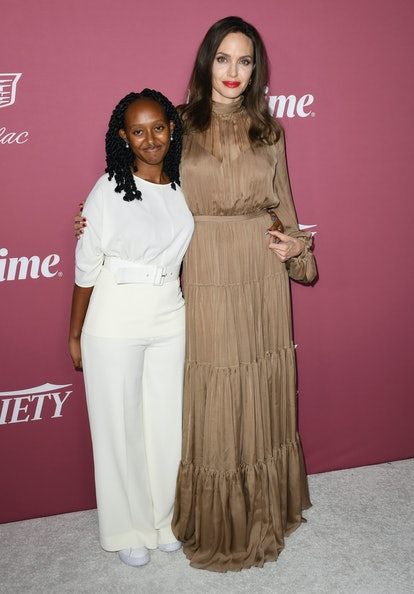 BEVERLY HILLS, CALIFORNIA - SEPTEMBER 30: (L-R) Zahara Jolie-Pitt and Angelina Jolie attend Variety'...