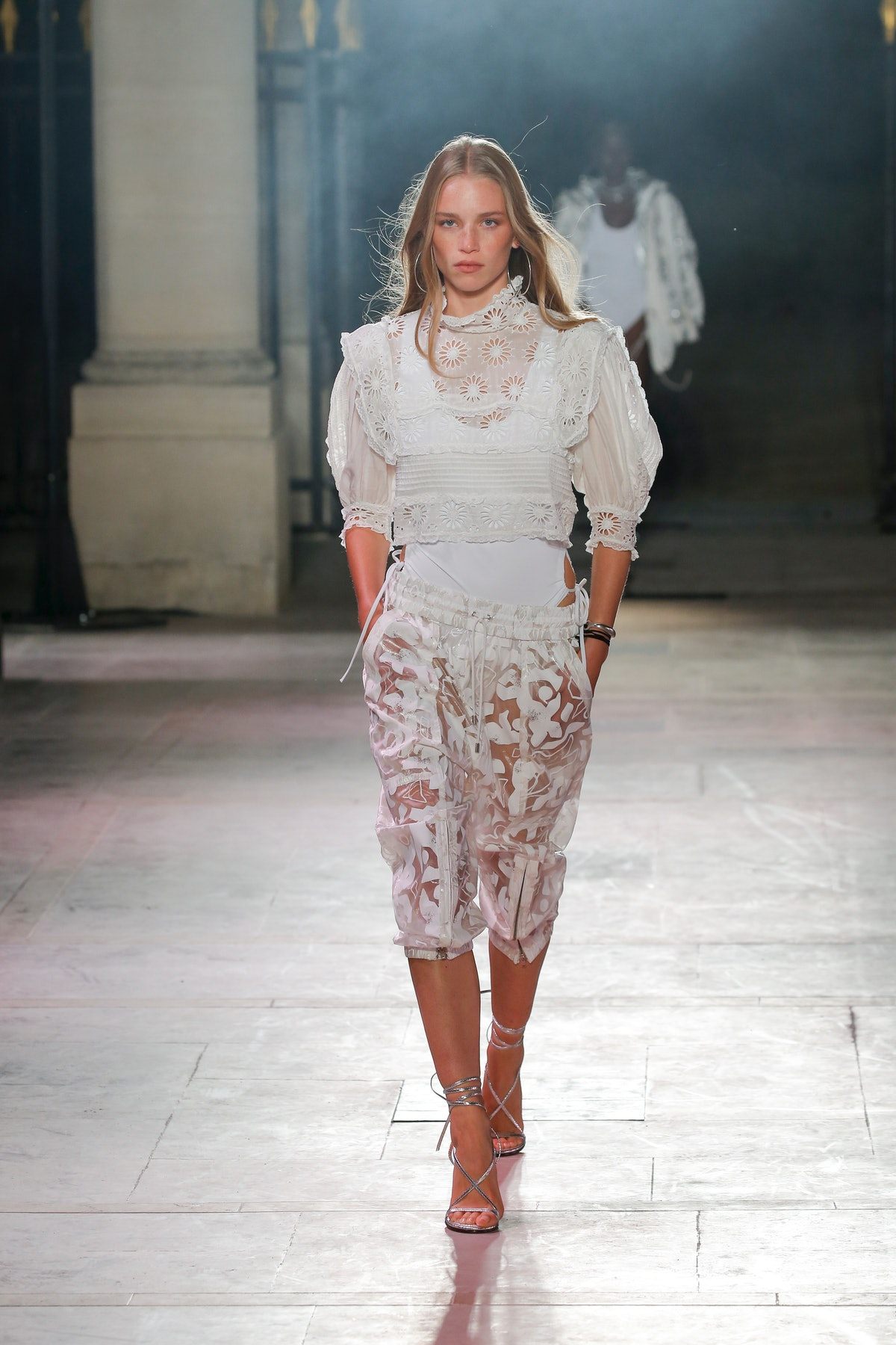 A model walks the runway during the Isabel Marant Ready to Wear Spring/Summer 2022 fashion show as p...