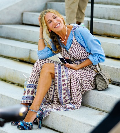 Carrie Bradshaw outfit: boho dress and button up
