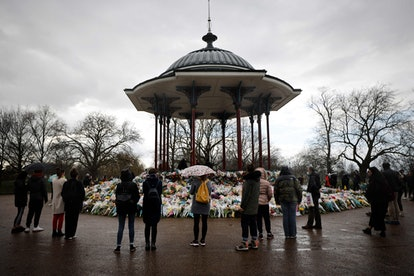 Floral tributes for Sarah Everard at the bandstand on Clapham Common.
