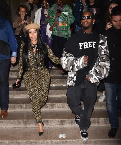PARIS, FRANCE - SEPTEMBER 30: Cardi B and Offset are seen leaving Giraffe restaurant on September 30...