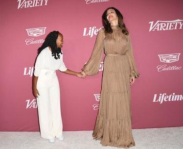 US actress Angelina Jolie and her daughter Zahara Jolie-Pitt (L) attend Varietys 2021 Power of Women...