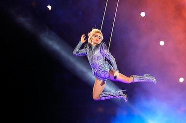HOUSTON, TX - FEBRUARY 05: Lady Gaga performs during the Pepsi Zero Sugar Super Bowl 51 Halftime Sho...
